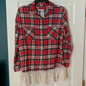Red Flannel Button Down with Lace Hem